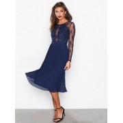 NLY Eve Lace Pleated Dress Skater Dresses Navy