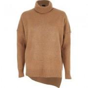 River Island Womens Camel asymmetric hem roll neck knit jumper