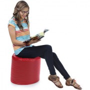 Home Story Round Ottoman Medium Size Red With Beans