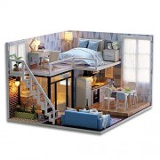 Flever Dollhouse Miniature Diy House Kit Creative Room With Furniture For Romantic Valentine'S (Blue Times)