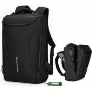 Mode mannen rugzak multifunctionele waterdichte laptop tas reistas met USB opladen poort (opgewaardeerd zwart)
