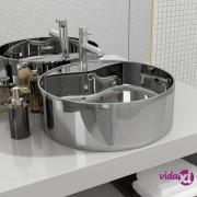 vidaXL Umivaonik sa zaštitom od prelijevanja 46,5x15,5 cm keramički srebrni