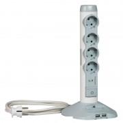 Legrand 4-es 2m kapcsolós elosztó oszlop túlfeszvédett White/Grey 694614