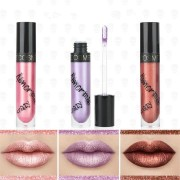 3Pcs Metallic Lip Gloss Waterproof Long Lasting Gold Matte Liquid Metal Lipstick Makeup Set