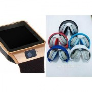 Zemini DZ09 Smartwatch and MS 771C Bluetooth Headphone for SAMSUNG GALAXY ACE NXT(DZ09 Smart Watch With 4G Sim Card Memory Card| MS 771C Bluetooth Headphone)
