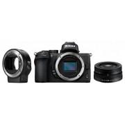 Aparat Foto Mirrorless Nikon Z50, 21MP, 4K, Wi-Fi, Bluetooth + Obiectiv NIKKOR Z DX 16-50mm f/3.5-6.3 VR + Adaptor FTZ (Negru)