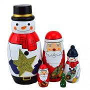 WOVTE Cutie Lovely White Snowman Santa Claus Christmas Tree Nesting Dolls Matryoshka Madness Russian Doll Popular Handmade Kids Girl Gifts Toy Set of 5