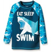 Hatley Little Boys Great White Sharks Rash Guard, Blue, 2