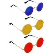Just Style Round Sunglasses(Blue, Yellow, Red)