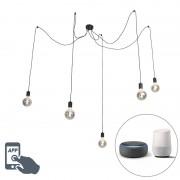 QAZQA Lampada a sospensione nera con 5 lampade WiFi LED G125 lampade - Cavalux