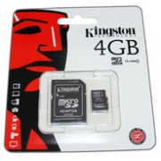 Карта памет Kingston 4 GB micro SD HC card Class 4+адаптор