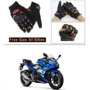 AutoStark Gloves KTM Bike Riding Gloves Orange and Black Riding Gloves Free Size For Suzuki GSX-250R