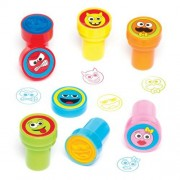 Baker Ross Funny Face Self Inking Kids Stamps - 10 Emoji Stamps For Crafts. 6 Ink Colours. Teacher Reward Stampers. Impression Size 2.2cm.
