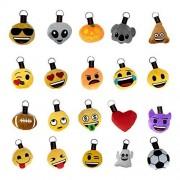 PREDCO 20 Padrísimos llaveros de Emojis , puedes usarlos como llaveros, originales distintivo de maletas, para darle un toque divertido a mochilas, morrales, maletines, bolsas y backpacks, ademas incluye revista de actividades y stickers metalizados. Exce