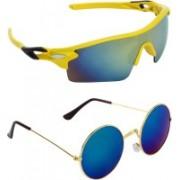Abner Wrap-around, Round Sunglasses(Multicolor, Blue)