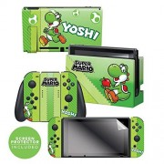 "Controller Gear Nintendo Switch Skin & Screen Protector Set, Officially Licensed By Nintendo Super Mario Evergreen ""Yoshi Eggs"" Nintendo Switch"