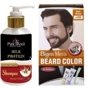 Pink Root Milk Protein Shampoo With Bigen Men's Beard Color B103 Dark Brown