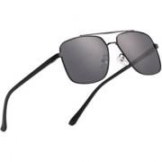 Royal Son Retro Square Latest Black Sunglasses For Men Women (Polarized Unisex Aviator Goggles)