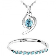Om Jewells Fashion Jewellery Combo of Aqua Crystal Designer Pendant Necklace and Bangle Bracelet for Girls CO1000057C