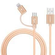 Gold - MOMAX MFI Certified 1m 2-in-1 Lightning 8Pin + Micro USB Charging Data Cord for iPhone Samsung Huawei