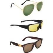 Zyaden Aviator, Wrap-around, Wayfarer Sunglasses(Green, Yellow, Brown)