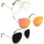 Sulit Aviator, Wayfarer, Cat-eye Sunglasses(Clear, Golden, Black)