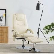 vidaXL Fotoliu masaj rabatabil cu taburet, alb crem, piele ecologică