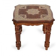 Desi Karigar Wooden Handcarved Work Square Shaped Side Table Size-14x14x12 Inch