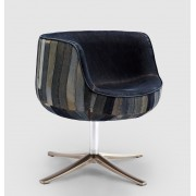 Replica Cup/Cognac Chair - Denim stripe/patchwork fabric