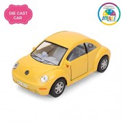 Smiles Creation Kinsmart 1:32 Scale Volkswagen New Beetle Pull Back and Opens Doors Toy, Yellow