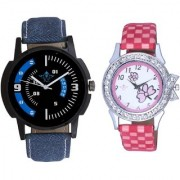 Sky Blue-White Dial And Pink Strap Girls Analogue Watch By Taj Avenue