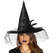 Halloweeni Boszorkány Kalap FEKETE BOSZORKÁNY VIRÁG - 13148