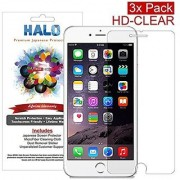 Halo Screen Protector Film High Definition (HD) Clear (Invisible) for iPhone 6 - [3 Pack] - Lifetime Replacement Warrant