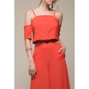 MOON RIVER Button Front Off the Shoulder Top RED