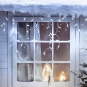 Guirlande Stalactite 12m 384 LED Blanche Câble Transparent Raccordable Série Cœur