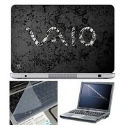 FineArts Laptop Skin - VAIO Grey Texture Back With Screen Guard and Key Protector - Size 15.6 inch