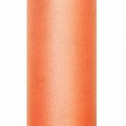 Merkloos Decoratiestof tule oranje 15 cm breed
