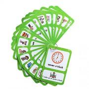 MagiDeal Pocket Educational Flash Cards Flashcards for School Classroom Or Homeschool - 20Pcs Card- Time, 13.6x9.2cm