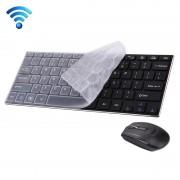 HK3910 2.4 GHz draadloos ultra-dun Metalen Toetsenbord met 78 toetsen & siliconen cover plus draadloze Optische Muis voor PC en Laptop (zwart)