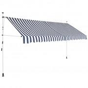 vidaXL vidaXL Copertină retractabilă manual, 350 cm, dungi albastru și alb