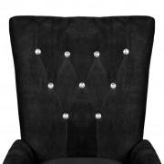 vidaXL Fauteuil met houten frame fluweel zwart