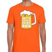 Bellatio Decorations Oranje Het is oranje en wil bier t-shirt heren