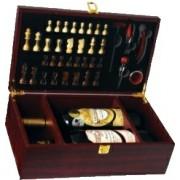 Kufřík na 2 vína s příslušenstvím a šachy