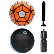 Combo of Ordem White/Orange + City Black Football (Size-5) with Air Pump & Sipper