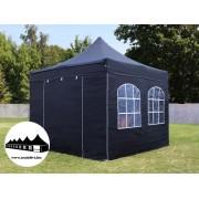 3x3m összecsukható pavilon ablakos fekete Prémium (Premium)