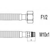 "Racord flexibil din INOX gofrat F1/2""xM10 cu capat scurt, 40cm, Techman GBS25"