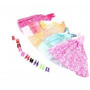 ER 5Pcs Hechos A Mano De La Princesa Vestido Del Partido Vestidos Ropa 10 Shoes For Muñeca Barbie Multicolor