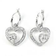 Swarovski kristályos Szív a szívbe fülbevaló