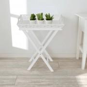 vidaXL fehér kisasztal tálcával