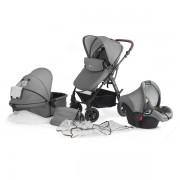 Бебешка количка 3в1 KinderKraft Moov, сива